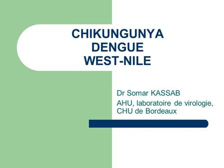CHIKUNGUNYA DENGUE WEST-NILE