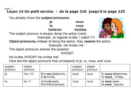 You already know the subject pronouns: jenous tuvous il/elle/onils/elles The subject pronoun is always doing the action (verb). Exemple: Je regarde la.