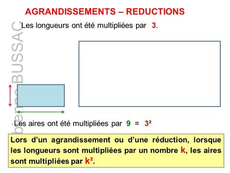 AGRANDISSEMENTS – REDUCTIONS