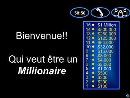 15 14 13 12 11 10 9 8 7 6 5 4 3 2 1 $1 Million $500,000 $250,000 $125,000 $64,000 $32,000 $16,000 $8,000 $4,000 $2,000 $1,000 $500 $300 $200 $100 Bienvenue!!