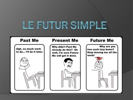 What is it Mademoiselle?  This is another way of conjugating verbs in the future! (Remember learning Futur proche? Aller + infinitive)