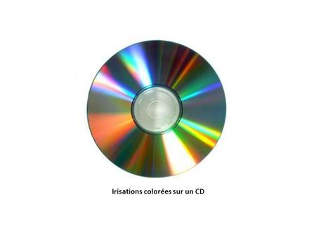 Irisations colorées sur un CD