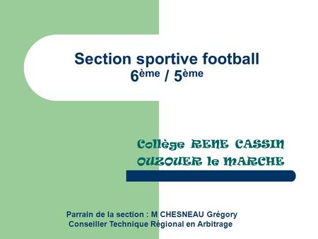 Section sportive football 6ème / 5ème
