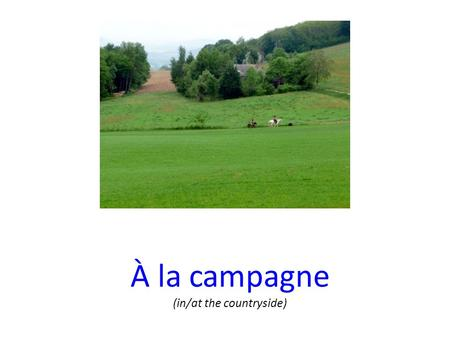 À la campagne (in/at the countryside). Passer (to spend time) le week-end PARTIR (to leave) RENTRER (to come back home/to your house) ≠ faire un pique-nique.
