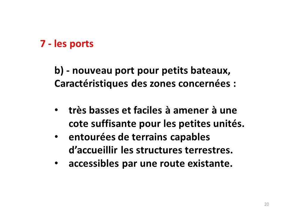21 7 - les ports b) (suite) - Un des sites possibles pour les petits bateaux