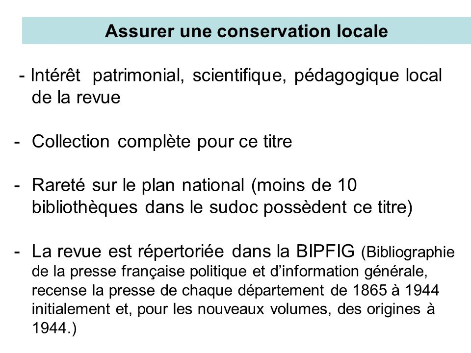 votre Valoriser les ressources documentaires de votre bibliothèque au plan régional, national et international par le signalement de ce document dans le catalogue du sudoc.