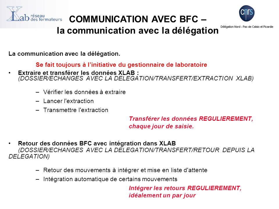 +Heures maximum pour envoyer une extraction : Le matin : du lundi au vendredi avant 11 h 40 L'après-midi : du lundi au vendredi avant 17 h 40 +Heures de mise à disposition des retours de la DR : Le matin : 7 h 30 L'après-midi : 12 h 30 Le soir : 18 h 30 COMMUNICATION AVEC BFC – la communication avec la délégation
