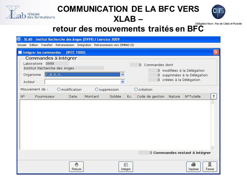 + REJET de la commande Rejet de l'EAI (automatique) EAI = Enterprise Application Integration (Intégration des applications d'entreprise) Rejet manuel (à l'initiative de la délégation) Les services faits rejetés le sont avec les commandes rejetées + REJET de la facture Facture non conforme à la réglementation CNRS Suite à la demande du laboratoire + Traitement des rejets dans BFC et Xlab Voir document « BFC-MUT – Traitement des rejets-Annexe » téléchargeable : http://www.dsi.cnrs.fr/bfc/portail/documentation/documents/BFC-MUT- Traitement%20des%20rejets-Annexe-V3.1.xls http://www.dsi.cnrs.fr/bfc/portail/documentation/documents/BFC-MUT- Traitement%20des%20rejets-Annexe-V3.1.xls Les rejets se traitent en accord entre gestionnaire du laboratoire et gestionnaire du service financier OPERATIONS EFFECTUEES EN DELEGATION – les rejets