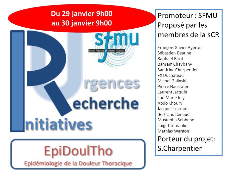 La douleur thoracique Motif fréquent Données épidémiologiques insuffisantes Méconnaissance des stratégies diagnostiques et thérapeutiques mises en œuvre à chaque étape de la prise en charge en urgence en France Couvre le champ de la Médecine d'Urgence