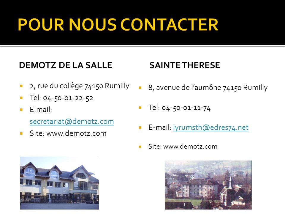  Venez nous découvrir:  VENDREDI 12 MARS 2010 de 14 à 19 heures sur le site Sainte Thérèse  SAMEDI 13 MARS 2010 de 9 à 12 heures sur le site Démotz de La Salle (présence du bac pro)