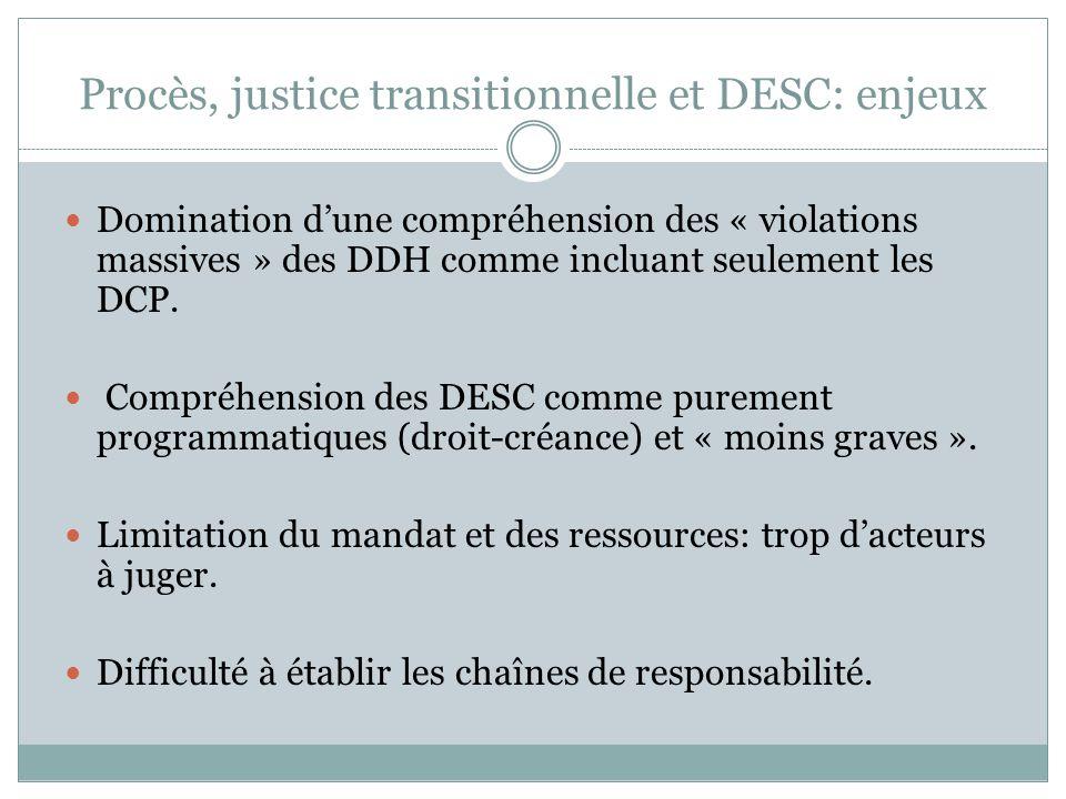 Procès, justice transitionnelle et DESC Indivisibilité des droits; Caractère obligatoire et justiciable des DESC.