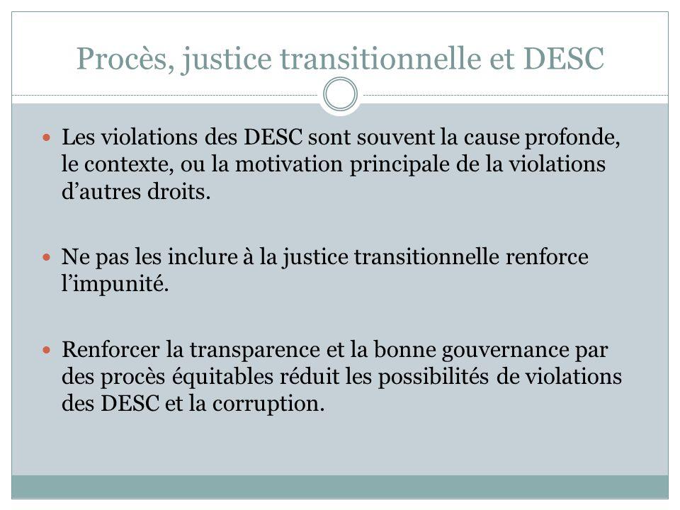 Remarque Les violations des DESC font directement partie du « passé » auquel la justice transitionnelle fait face, y compris en Tunisie.