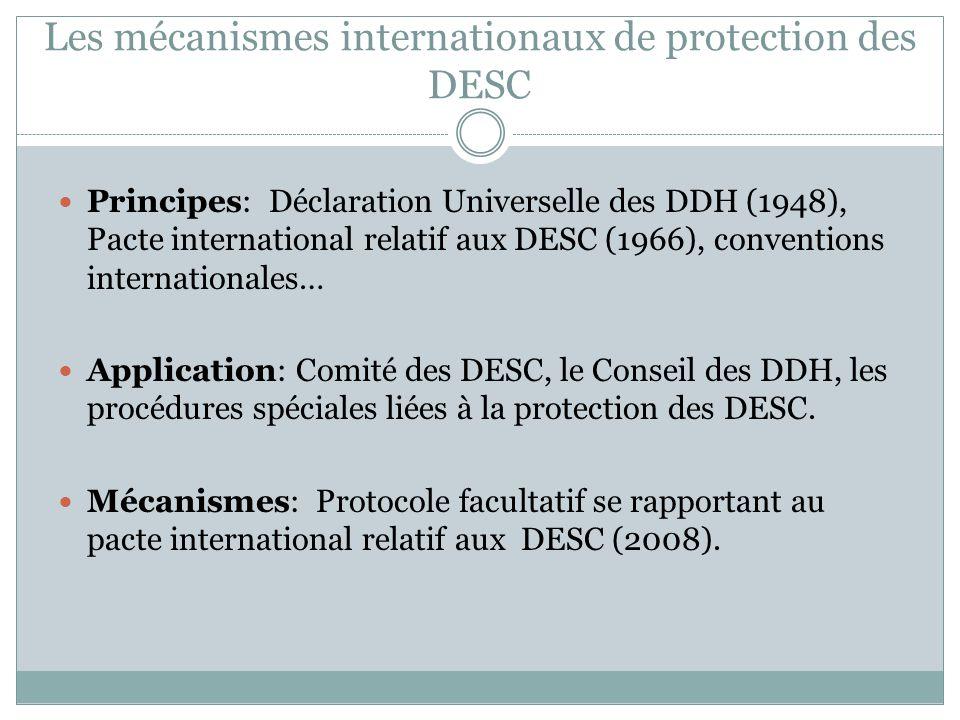 Les mécanismes internationaux de protection des DESC Obligations: protection et, en cas de manque de ressources, « faire les efforts nécessaires pour utiliser toutes les ressources disponibles pour satisfaire, de manière prioritaires, ces obligations » (PIDESC, §2).