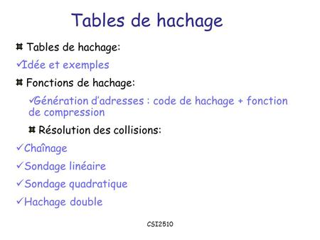 Tables de hachage Tables de hachage: Idée et exemples