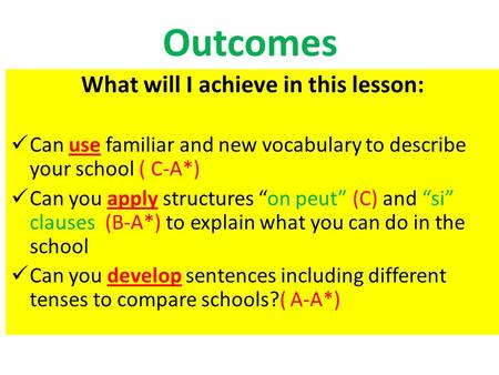 "Outcomes What will I achieve in this lesson: Can use familiar and new vocabulary to describe your school ( C-A*) Can you apply structures ""on peut"" (C)"
