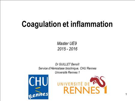 Coagulation et inflammation