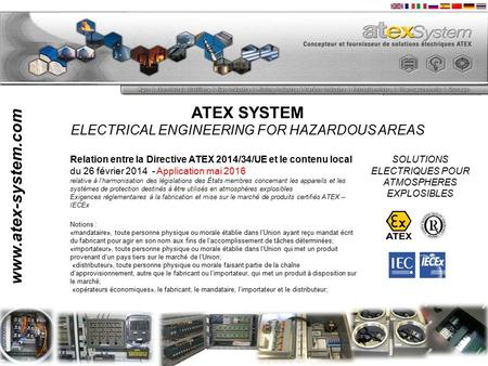 ATEX SYSTEM ELECTRICAL ENGINEERING FOR HAZARDOUS AREAS SOLUTIONS ELECTRIQUES POUR ATMOSPHERES EXPLOSIBLES www.atex-system.com Relation entre la Directive.