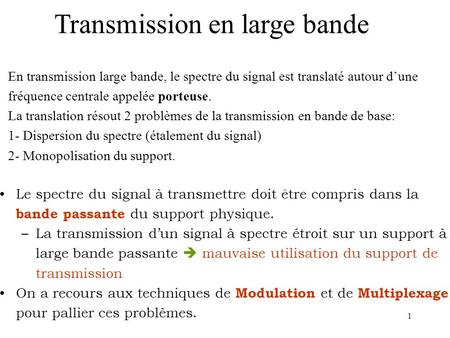 Transmission en large bande