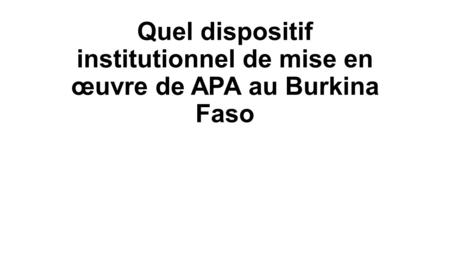 Quel dispositif institutionnel de mise en œuvre de APA au Burkina Faso.