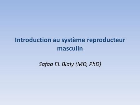 Introduction au système reproducteur masculin Safaa EL Bialy (MD, PhD)