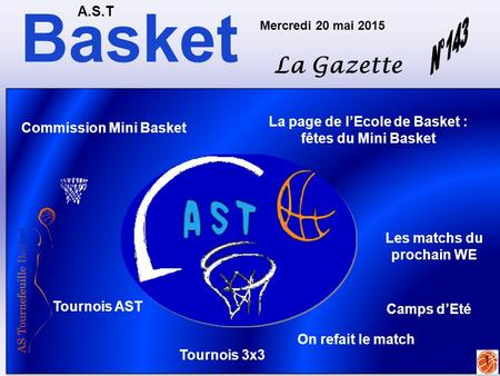 Basket A.S.T La Gazette Mercredi 20 mai 2015 1 La page de l'Ecole de Basket : fêtes du Mini Basket Tournois AST Camps d'Eté Tournois 3x3 On refait le match.