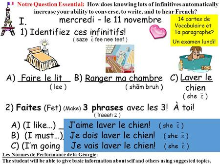 1) Identifiez ces infinitifs! I. Notre Question Essential: How does knowing lots of infinitives automatically increase your ability to converse, to write,