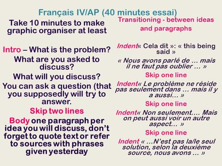 Français IV/AP (40 minutes essai) Take 10 minutes to make graphic organiser at least Intro – What is the problem? What are you asked to discuss? What will.