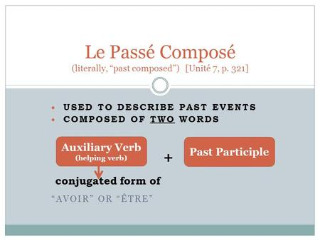 " USED TO DESCRIBE PAST EVENTS  COMPOSED OF TWO WORDS + conjugated form of ""AVOIR"" OR ""ÊTRE"" Le Passé Composé (literally, ""past composed"") [Unité 7, p."