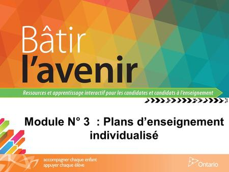 Module N° 3 : Plans d'enseignement individualisé.