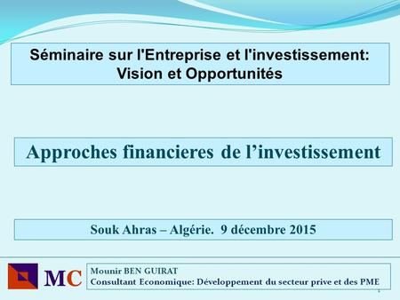 MC Approches financieres de l'investissement