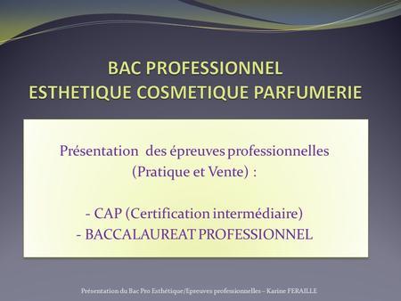 Bac professionnel esthetique cosmetique parfumerie ppt - Programme bac pro cuisine ...