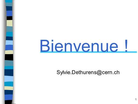 Bienvenue ! Sylvie.Dethurens@cern.ch Good afternoon everybody, I am very happy to welcome you to CERN today. My name is SD, I am working in HR dep. And.