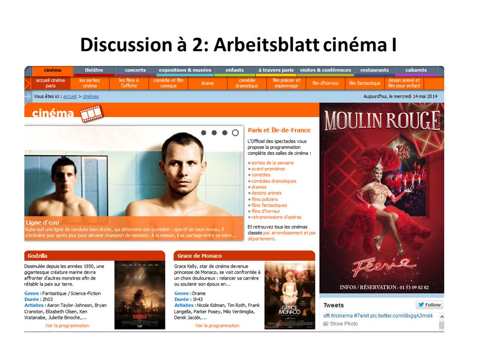 Discussion à 2: Arbeitsblatt cinéma II