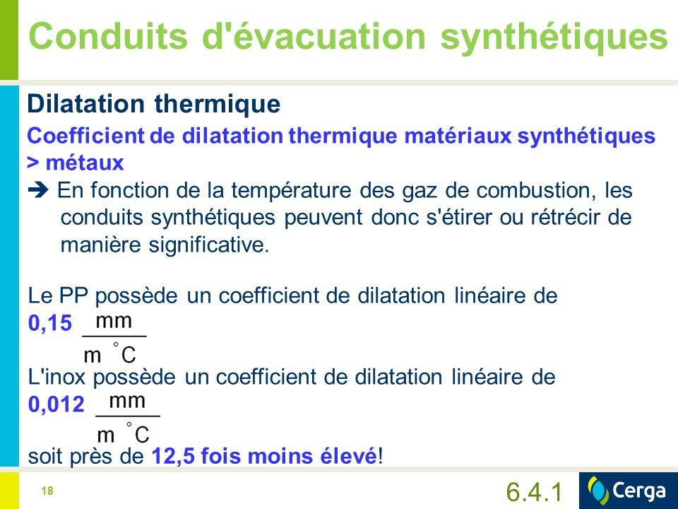 19 Conduits d évacuation synthétiques Une étude en laboratoire menée sur des conduits d évacuation de fumées en PP:  un conduit synthétique de 5 m  une température d entrée de 75°C  une température de sortie de 50°C  se dilate d environ 3 mm par mètre.