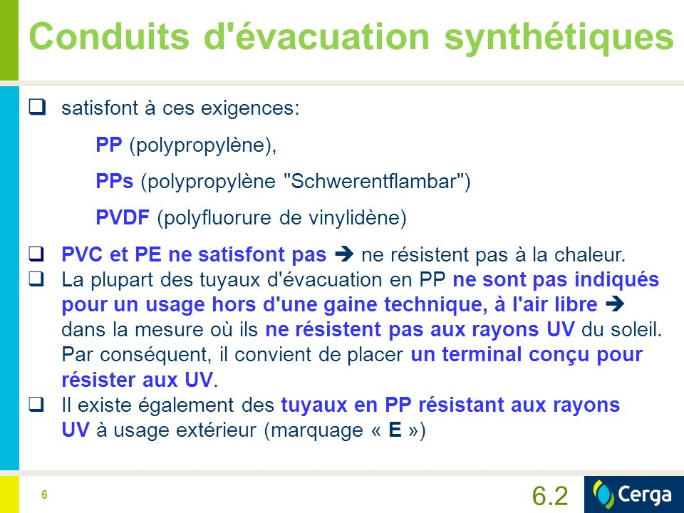 7 Conduits d évacuation synthétiques Condition 2:  L appareil est approuvé ou sécurisé de manière à ce que les gaz de combustion ≤ 120°C à la sortie de l appareil au gaz.