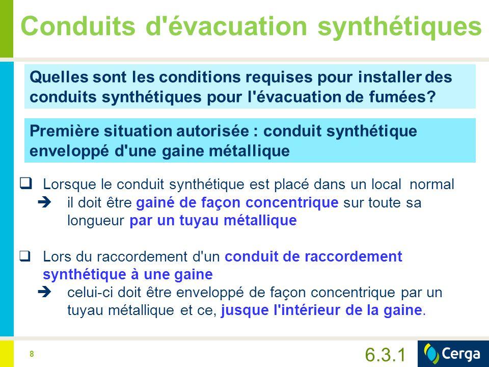 9 Conduits d évacuation synthétiques  Le passage de mur du conduit de raccordement gainé doit être scrupuleusement étanchéisé à l aide d un matériau ignifuge.