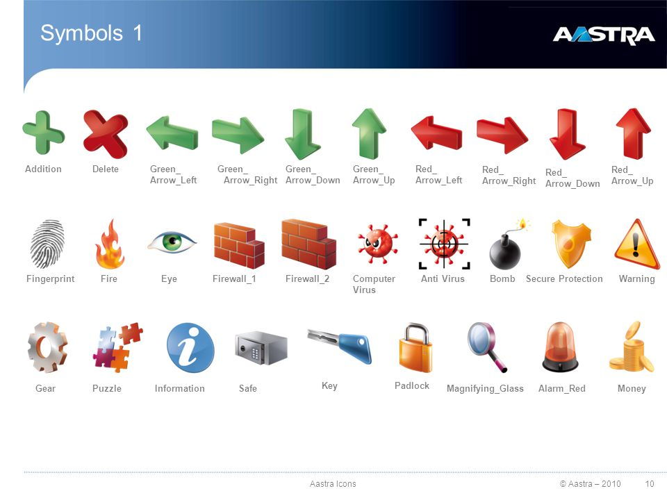 © Aastra – 2010 Symbols 2 FolderOn MarkOff MarkEarthClockDVDSpeakerBluetoothRecord RecycleCross MarkCheck MarkCloud 11Aastra Icons