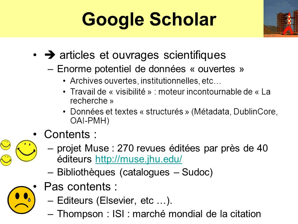 Google Books (volet bibliothèque) Google Projet Bibliothèque –Annonce partenariat avec bibliothèques pour numériser gratuitement leur fonds et les rendre accessibles en texte intégral si copyright dépassé.