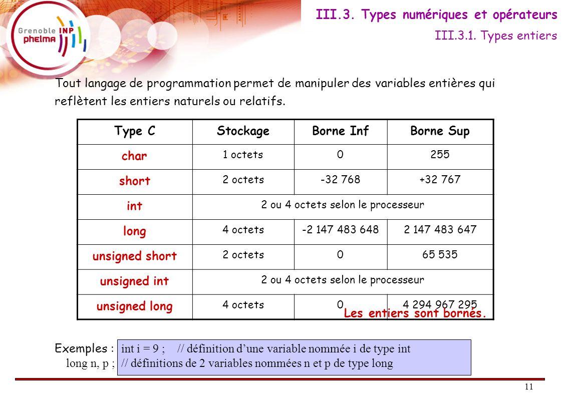12 Affectation : opérateur = Opérations arithmétiques : + - * / % / % : quotient et modulo // 5 / 2 donne 2 et 5 % 2 donne 1.