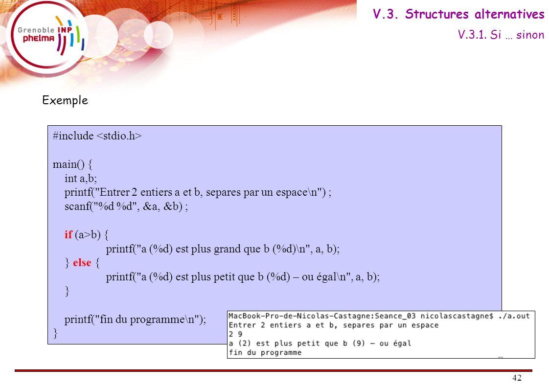 43 Si (Condition) Alors faire Bloc n°1 Fin Si Bloc suite AlgorithmiqueC if ( Condition ) { // Bloc n°1 ; } // Bloc suite ; Le bloc Sinon est facultatif : Condition VRAIFAUX Bloc suite Bloc n°1 V.3.