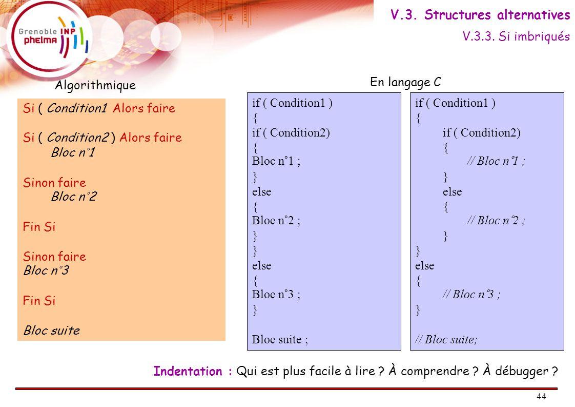45 Si ( Condition1 ) Alors faire Bloc n°1 Sinon Si ( Condition2 )  Alors faire Bloc n°2 Sinon faire Bloc n°3 Fin Si Bloc suite Algorithmique C if ( Condition1 ) { Bloc n°1 ; } else { if ( Condition2 ) { Bloc n°2 ; } else { Bloc n°3 ; } Bloc suite ; if ( Condition1 ) { // Bloc n°1 ; } else if ( Condition2 ) { // Bloc n°2 ; } else { // Bloc n°3 ; } // Bloc suite ; Écriture plus compacte.