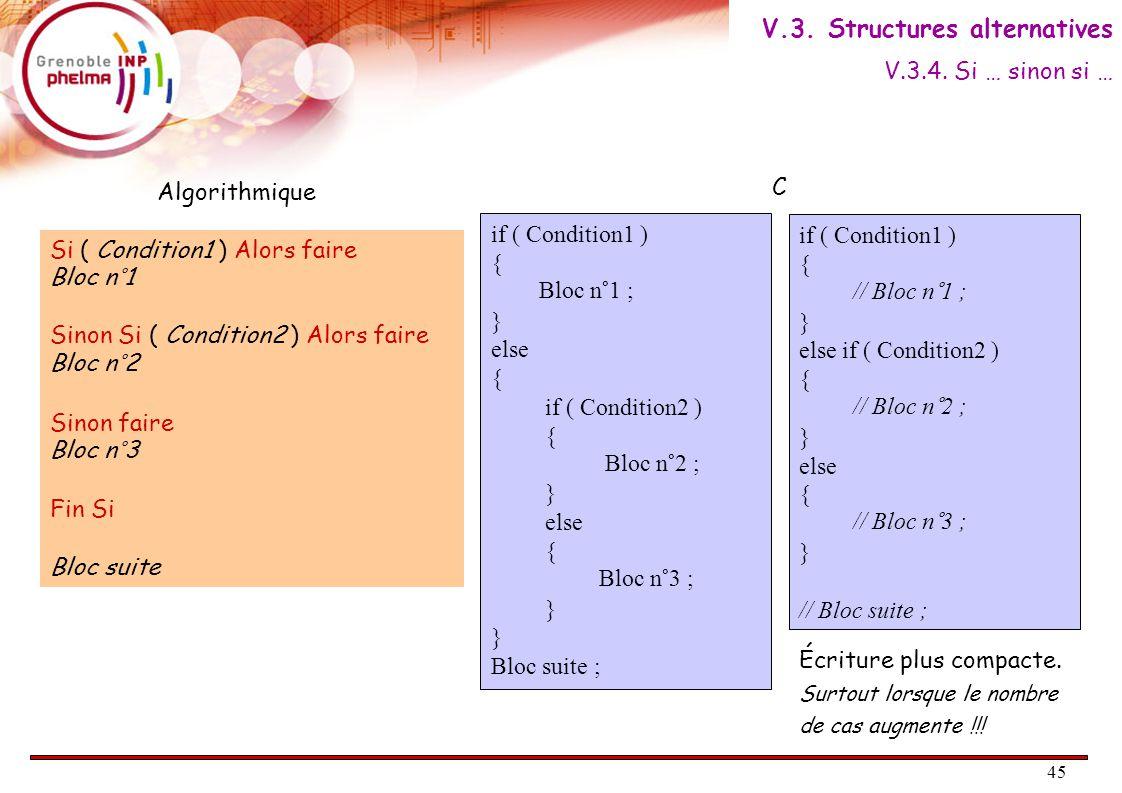 46 Quand on a un choix parmi plusieurs valeurs, une syntaxe spécifique existe en C : if ( x = = valeur1 ) { // Bloc n°1; } else if (x = = valeur2) { // Bloc n°2 ; } else { // Bloc n°3 ; } // Bloc suite ; switch ( x ) { case valeur1: // Bloc n°1 ; break ; case valeur2: // Bloc n°2 ; break ; default: // Bloc n°3 break ; } // Bloc suite ; La section default est facultative.