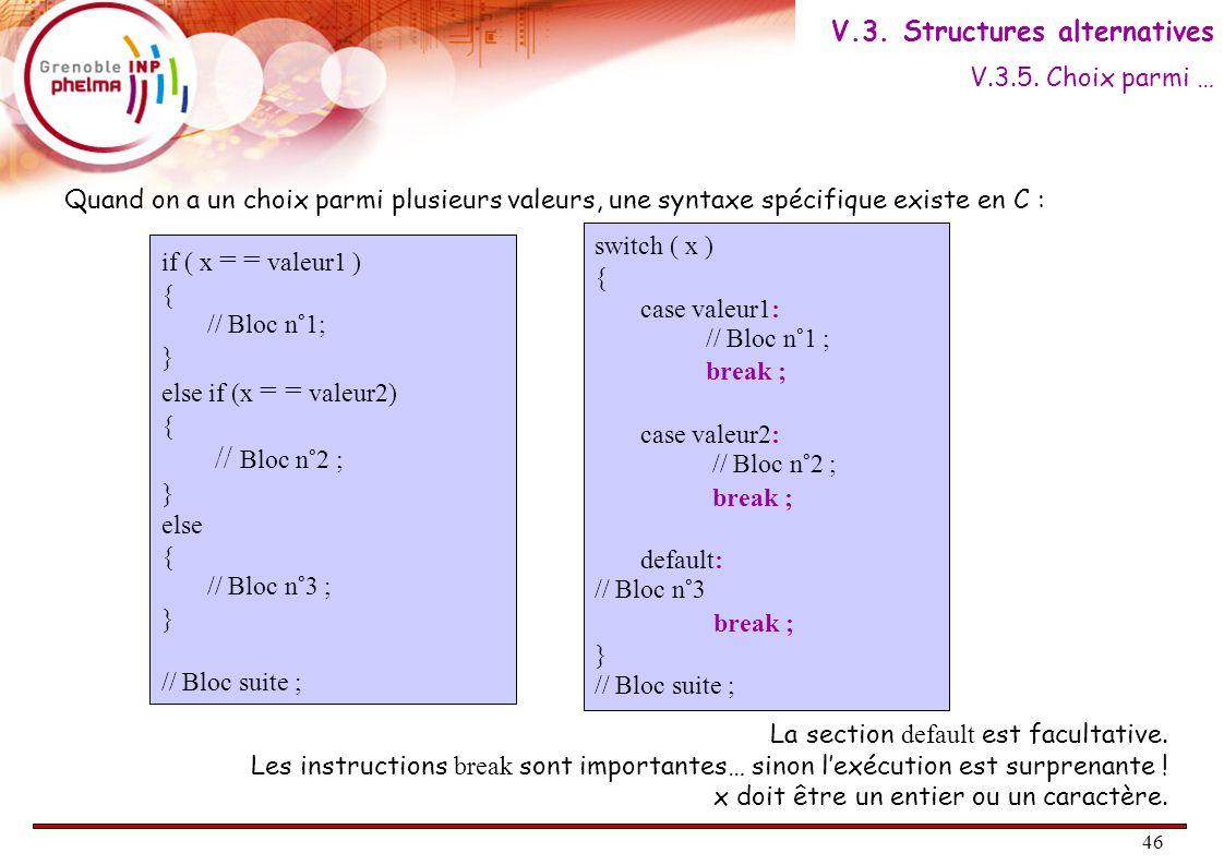 47 Exemple #include main() { char c ; int prix = 0; printf( \t 1 : Vin rouge\n ); printf( \t 2 : Eau\n ); printf( \t 3 : Rien\n ); printf( \t -----> ); scanf( %c , &c); printf( Vous avez choisi : ); switch (c ) { case 1 : printf( Du rouge\n );prix=100; break; case 2 : printf( De l'eau\n );prix=10; break; case 3 : printf( rien\n );prix=0; break; default : printf( Choix non valide\n ); break; } printf( Pour un prix de %d euros\n , prix); } V.3.