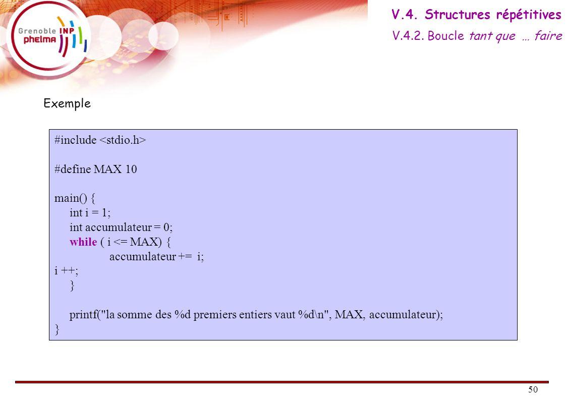 51 Condition VRAI FAUX Bloc Bloc suite Faire Bloc Tant que ( Condition ) Bloc suite AlgorithmiqueC do { // Bloc ; } while ( condition ) ; // Bloc suite ; Le bloc est répété tant que la condition est vraie.