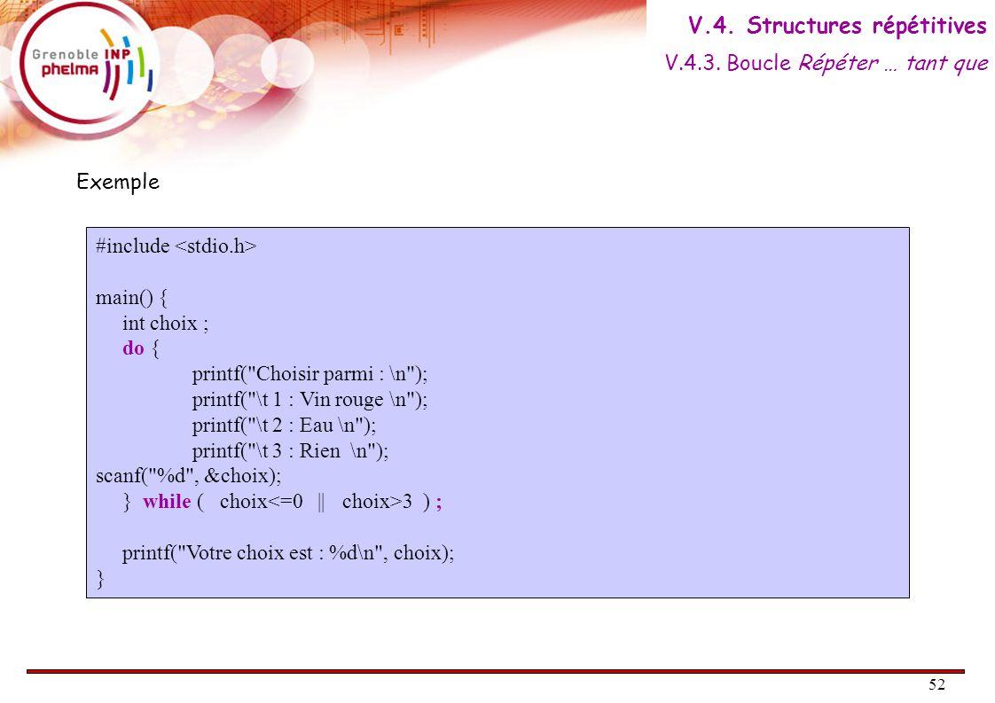 53 Pour i de début à fin par pas de incr Faire Bloc Fin Pour Bloc suite AlgorithmiqueC for( init ; cond ; incr ) { Bloc ; } Bloc suite ; Quand le nombre de répétition est prévu, on peut utiliser une boucle « pour ».