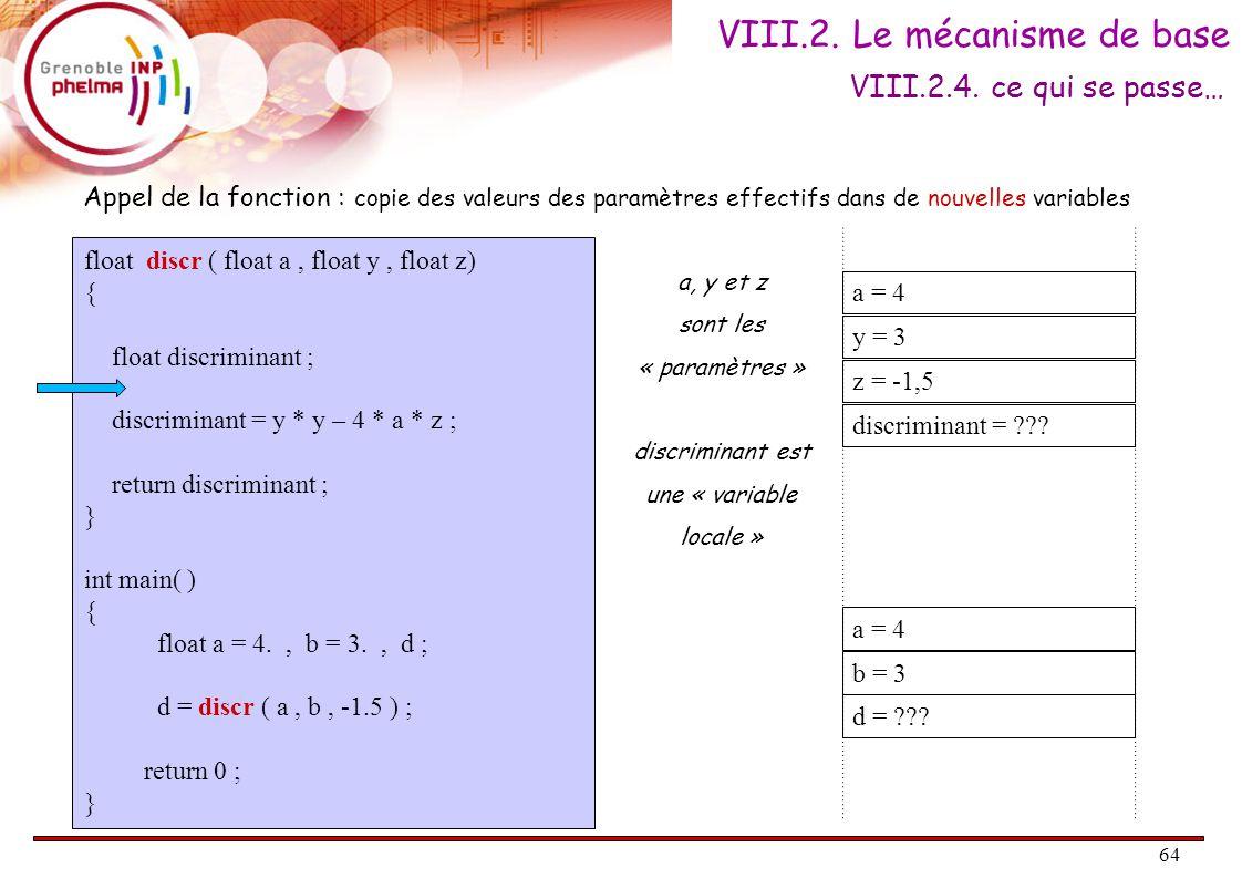 65 float discr ( float a, float y, float z) { float discriminant ; discriminant = y * y – 4 * a * z ; return discriminant ; } int main( ) { float a = 4., b = 3., d ; d = discr ( a, b, -1.5 ) ; return 0 ; } a = 4 y = 3 z = -1,5 discriminant = ??.