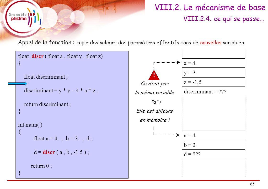 66 float discr ( float a, float y, float z) { float discriminant ; discriminant = y * y – 4 * a * z ; return discriminant ; } int main( ) { float a = 4., b = 3., d ; d = discr ( a, b, -1.5 ) ; return 0 ; } a = 4 y = 3 z = -1,5 discriminant = 33 Appel de la fonction.