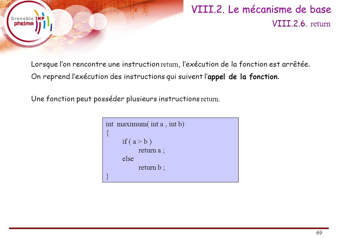 70 Une fonction peut ne pas renvoyer de résultat : son type de retour est noté void.