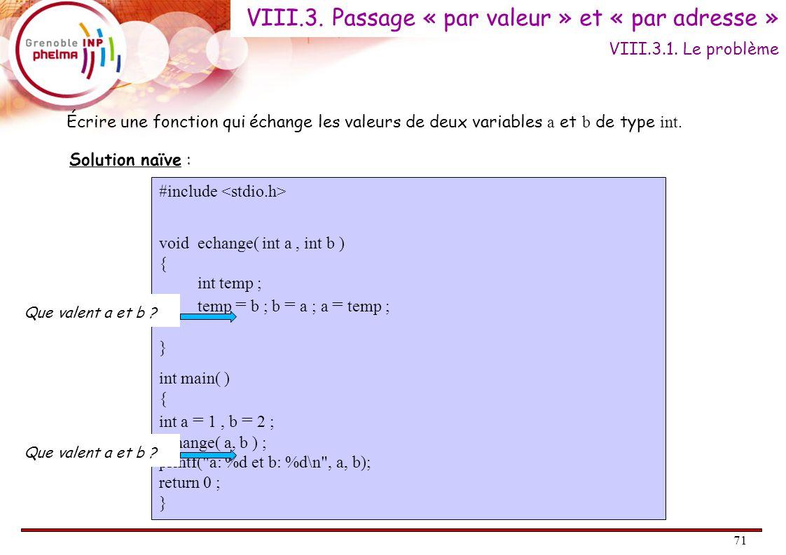 72 Ceci ne fonctionne pas car a et b (du main ) et a et b (de echange ) sont des variables différentes bien qu'étant des homonymes .