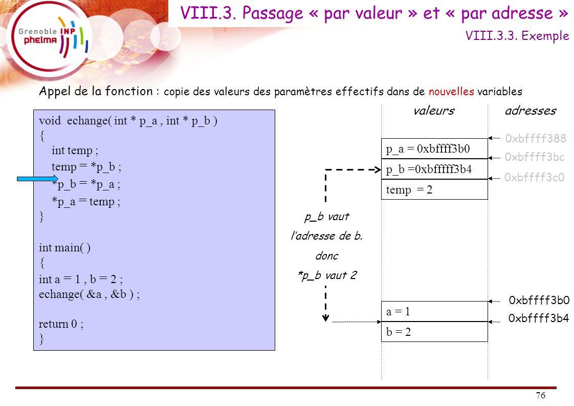 77 void echange( int * p_a, int * p_b ) { int temp ; temp = *p_b ; *p_b = *p_a ; *p_a = temp ; } int main( ) { int a = 1, b = 2 ; echange( &a, &b ) ; return 0 ; } a = 1 b = 1 p_a = 0xbffff3b0 p_b =0xbfffff3b4 temp = 2 Appel de la fonction : copie des valeurs des paramètres effectifs dans de nouvelles variables valeursadresses 0xbffff3b0 0xbffff3b4 0xbffff388 0xbffff3bc 0xbffff3c0 *p_b est la même case mémoire que la variable « b » du main => On affecte 1 à cette variable (c'est à dire la valeur de *p_b) VIII.3.3.